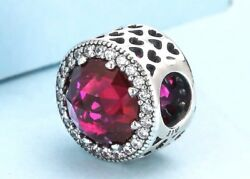 Authentic Pandora Silver Charm Bead Red Radiant Hearts Cerise Crystal 791725 #bt