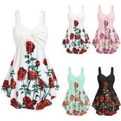 Womens Floral Short Mini Dress Ladies Sleeveless Beach Party Sundress Plus Size