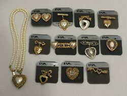 12 Pieces of Vintage 1928 Brand Jewelry Heart Shaped Necklace Pins Clip Earrings
