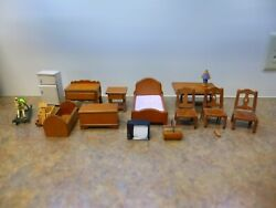 Dollhouse wooden furniture: 2 beds chairs fridge tables chest more!