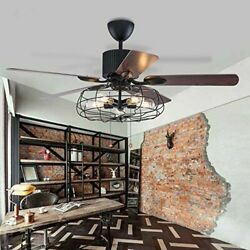52quot;Industrial Ceiling Fan with 5 Lights Remote Chandeliers Vintage Lighting Lamp $179.99