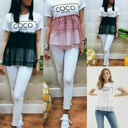 Ladies Womens Coco Slogan Frill Mesh Ruffle Peplum Tutu Net Fashion T-Shirt Top