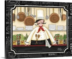 Chef in Kitchen Canvas Wall Art Print Home Decor $29.99
