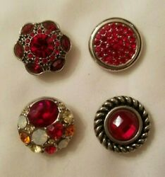 Set of 4 RED Themed Authentic GInger Snaps Brand Snaps 20mm Regular Size