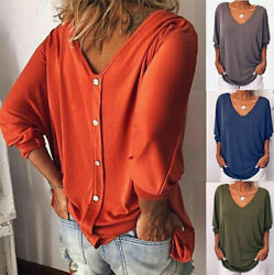 Womens Summer 34 Sleeve Back Buttons T Shirts Plus Size V Neck Solid Top Blouse