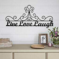 Live Laugh Love Metal Cutout Sign 3D Look Wall Hanging Decor 35 Inch Long $28.99