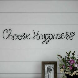 Choose Happiness Cursive Metal Cutout Sign Rustic Wall Hanging Decor 30 Inch $15.99