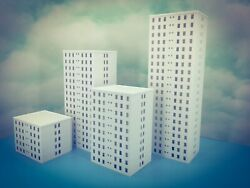 5 Floor OFFICE city LUXURY APARTMENT Building Z Scale 1:220 Fully Assembled $28.83