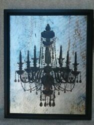 Black Textured Chandelier On Metallic Colored Canvas In Black Frame $19.00