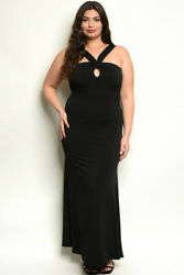Womens Plus Size Black Maxi Dress 1X Halter Neckline Gown Stretch Formal Travel $39.95