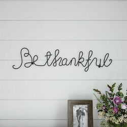 Be Thankful Cursive Metal Cutout Sign Rustic Decor Wall Hanging 25 Inch $14.99