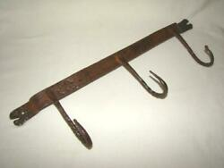 Antique Wrought Iron Hand Hammered UTENSIL HOOK HANGING RACK Rat Tail Ends