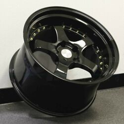 18x9.5 Black With Gold Rivets Wheels Aodhan AH03 AH3 5x100 +30 Rims 18