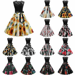 Womens 1950s Rockabilly Retro Swing Floral Cocktail Party Lace Sleeveless Dress