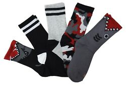 K. Bell Boys Novelty 5 Pairs Shark Camo Gorilla Stripes Crew Socks Multi Grey $14.99