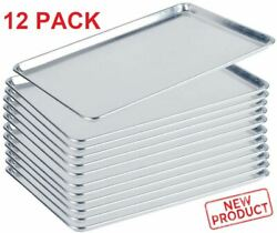 12 PACK Full Size Aluminum Baking Pan Bun Sheet Pans 18quot;x26quot; Commercial Wire Rim