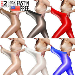 High Gloss Pantyhose Tights Oil Shiny Stocking Hosiery OpenCrotchless Plus Size