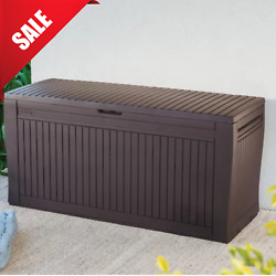Outdoor Storage Bench Box Lockable Waterproof Garden Patio Resin Deck Container $158.69