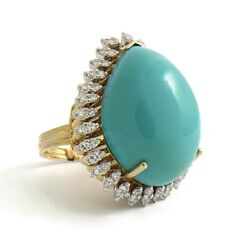 Vintage Pear Turquoise Diamond Halo Cocktail Ring 14K Yellow Gold 23.2 Grams