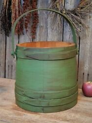 Antique Primitive Green Wooden Firkin Sugar Bucket Farmhouse