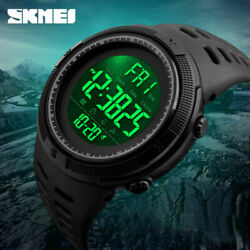 Men#x27;s Sport Army Military Alarm Calendar Dual 50M Waterproof Digital Wrist Watch $12.78