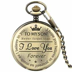 TO MY SON I Love You Forever Retro Gold surface Pendant Pocket Watch FREE SHIP