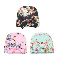 Newborn Baby Girl Boy Bow Knot Floral Turban Head Wrap India Ear Cap Beanie Hats