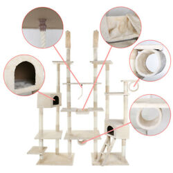 112.5quot; Cat Tree Condo Furniture Scratch Post Pet Play House Gym Tower Beige $94.99