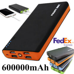 4 USB 600000mAh Power Bank LED External Backup Battery Charger for Cell Phone