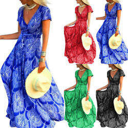 Women Boho Floral Short Sleeve V Neck Maxi Long Tea Dress Casual Holiday Dresses $18.52