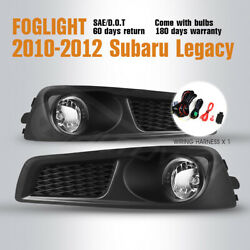 Fits 10-12 Subaru Legacy Fog Lights Replace Clear Lamps 1 Pair Wiring Kit $76.73