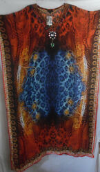 ANIMAL PRINT KAFTAN CAFTAN BROWN ORANGE BLUE  POLYESTER  FITS ALL SMLXL1X2X