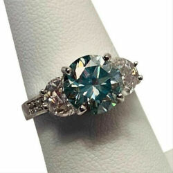 925 Sterling Silver Blue 1.57Ct Brilliant Moissanite Engagement Anniversary Ring