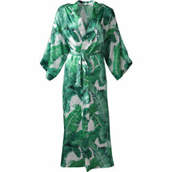 Floral Kimono Robe Wedding Bride Bridesmaid Long Bathrobe with Pockets Satin