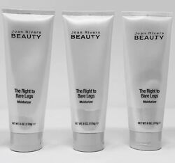 3 JOAN RIVERS BEAUTY THE RIGHT TO BARE LEGS MOISTURIZER 6oz NEW Free Shipping