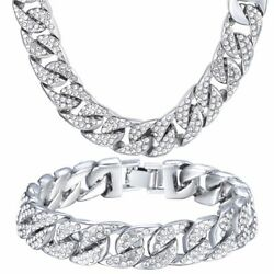 14mm Curb Cuban Link Chain Necklace Bracelet Set White Yellow Gold Tone Jewelry