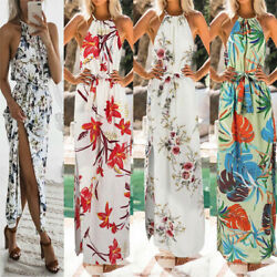 Womens Girls Summer Floral Boho Long Maxi Evening Party Beach Floral Dress US