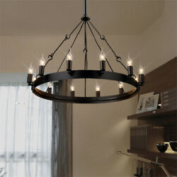 Industrial 12 Lights Pendant Ceiling Lamp Vintage Wrought Iron Round Chandelier $159.99