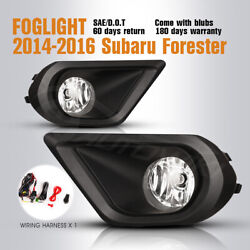 Fits 14-16 Subaru Forester Fog Lights Assembly Clear Lamps Wiring Kit $50.39