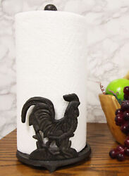 Cast Iron Rustic Rooster Chicken On Scroll Art Kitchen Paper Towel Holder Stand $29.99