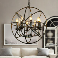 Metal Orb Chandelier Lamp Round Hanging Globe Cage Ceiling Pendant Light Fixture $94.99