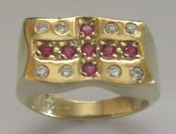Secondhand 9ct yellow gold multi red & white cubic zirconia signet ring size W