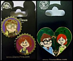 Disney Parks 3 Pin Lot UP Carl and Ellie as kids Caps + Heart