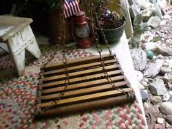 Primitive Antique Wood Hanging Herb Drying Rack Rusty Hanging Chain PATINA !