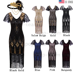 1920s Beaded Flapper Gatsby Dress Wedding Evening Party Formal Dresses Plus Size $36.99