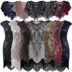 Art Deco 1920s Beaded Flapper Gatsby Cocktail Dress Wedding Party Formal Dresses $41.99