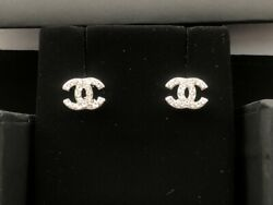 Authentic Chanel Silver Tone Crystal Studs Earrings Mini
