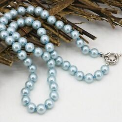 10mm Light Blue Akoya Shell Pearl Round Beads Necklace 20Inch h05