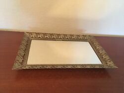 VINTAGE GOLDTONE METAL LACE VANITY MIRROR TO STAND HANG OR USE AS PERFUME TRAY