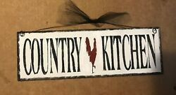 country kitchen chicken rooster farmhouse wall art home decor wooden 4x12 sign $8.99